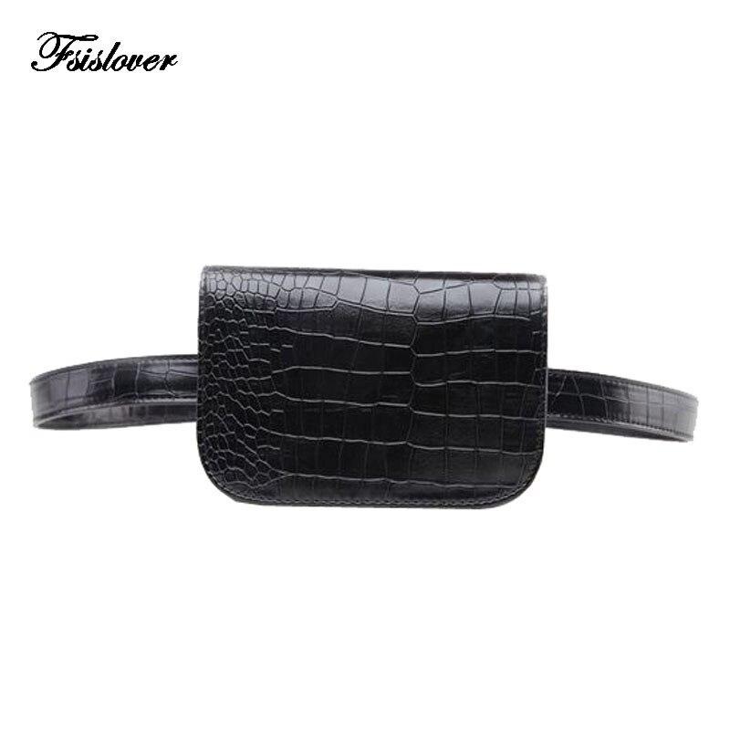 Waist Bag Women Vintage PU Leather Fanny Pack Alligator Ladies Belt Wallet Money Bag Waist Packs Travel Pouch Bag Bolsa Feminina