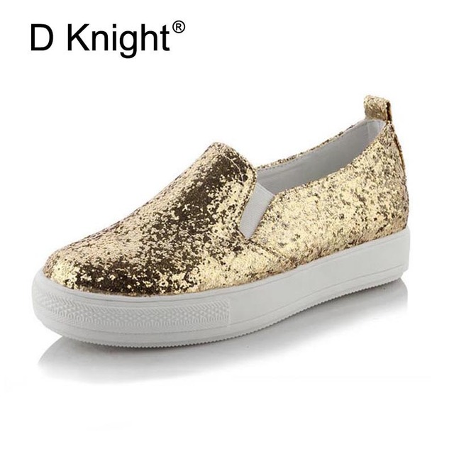 Glitter Flats Platform Shoes Woman Round Toe Slipon Ladies Casual Shoes  Sequined Cloth Sneakers