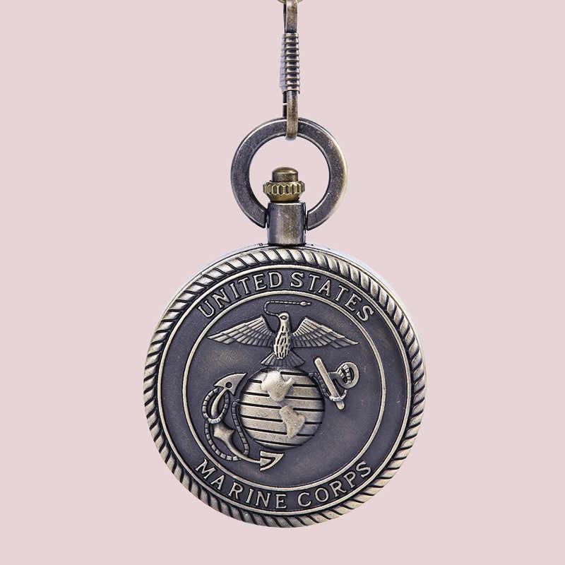 Chất lượng Đồng Giả Cổ Thủy Quân Lục Chiến HOA KỲ Cờ Nổi Túi Đồng Hồ Thạch Anh Dây Chuyền Mặt Dây Chuyền Nam Bộ Sưu Tập