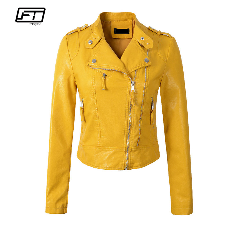 Fitaylor Women Faux   Leather   Jacket Coats Short Design Epaulet Zippers Faux Soft   Leather   Pu Motorcycle Black Pink Yellow Outwear
