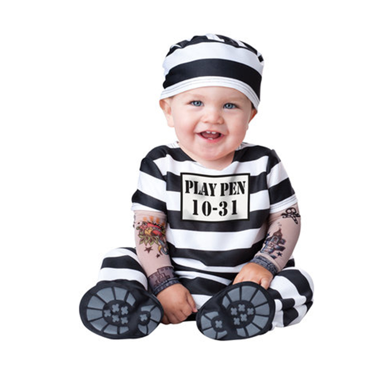 Halloween Prisoner Costume Cosplay Clothes Baby Boy Kid Striped Prisoner Costume Birthday Gift Masquerade Costume