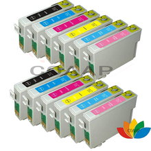 цена на 12pcs T0821 T0822 T0823 T0824 T0825 T0826 Compatible ink cartridge for Epson R390 R270 R290 R295 RX590 RX615 RX610 RX690 printer