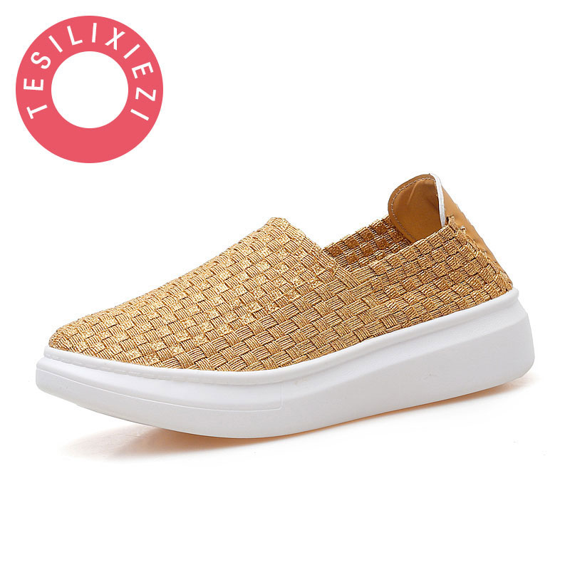 New Fashion Women Casual Shoes Slip On Summer Handmade Woven Loafers Women's Flats Style Women Breathable Toe Woven Shoes hot 2017 new fashion womens weave shoes spring summer mixed color breathable casual shoes flats slip on loafers tenis feminino