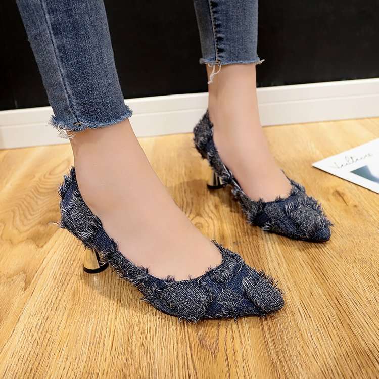 2018 autumn new ladies high heels pointed raw denim thick with shallow mouth fashion single shoes women's shoes raw trim denim sandals