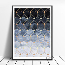 Nordic Blue Hexagons Diamonds Art Posters and Prints Wall Canvas Painting Pictures For Living Room Abstract Home Decor
