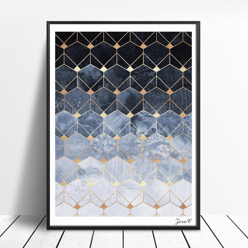 Nordic Blue Hexagons Diamonds Art Posters and Prints Wall Art Canvas Painting Pictures For Living Room Abstract Home Decor