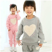2016 Love Clothing Kids Girls Track Suit Clothes Sets Baby Girl Long Sleeve Pant Set Children