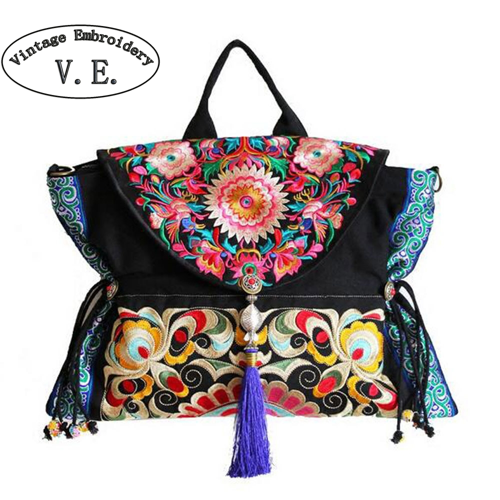 New Original Women Handbag Chinese Boho Thai India Embroidery Floral Handmade Tassel Shoulder Messenger Bag Canvas Travel Bag 100 super cute little embroidery chinese embroidery handmade art design book
