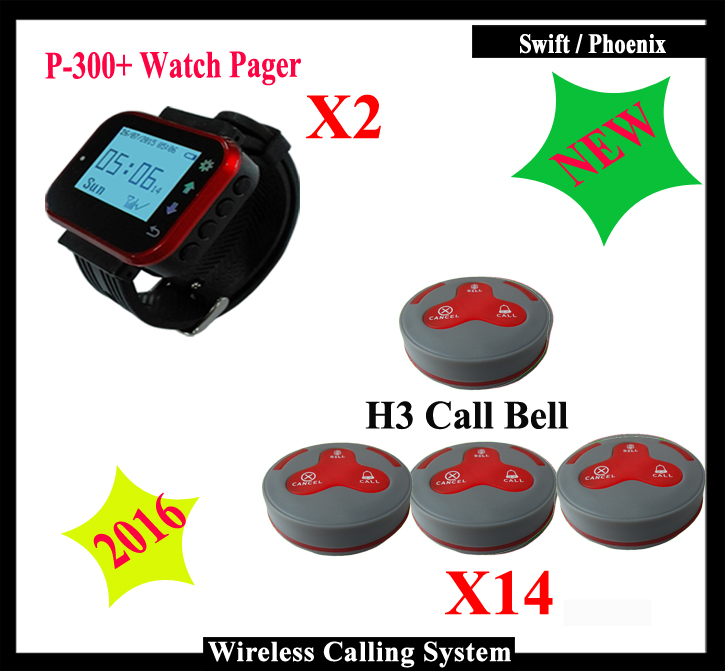 3-button Wireless Calling Bell button and Wrist Clock Watch Pager K-300plus for Restaurant Call Sytem restaurant pager watch wireless call buzzer system work with 3 pcs wrist watch and 25pcs waitress bell button p h4