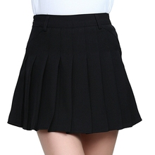 SJJH New fashion Women A-line High Waist Skirts Ladies Pleated Zip Summer Spring Mini Sweet School Girls