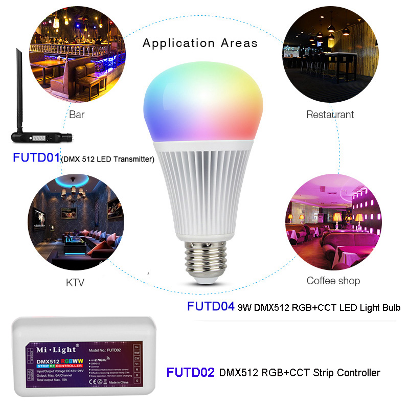 MiBOXER DMX512 RGB CCT E27 9W LED Light Bulb Lamp DMX 512 LED Transmitter DMX512 RGB CCT Strip Controller FUTD01 FUTD04 FUTD02 in Dimmers from Lights Lighting