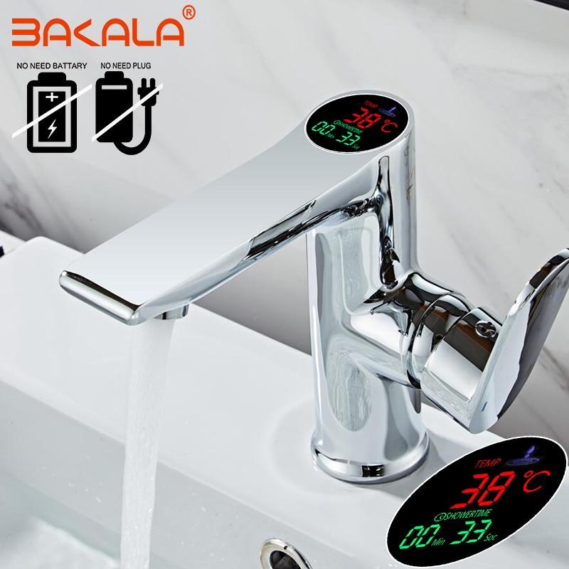 BAKALA Bathroom LED Digital Basin Faucet Water Power Basin Mixer Brass Chrome Plated Temperate Display Faucet Smart Tap B-3035