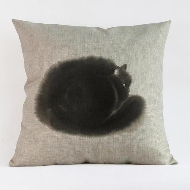 Fábrica al por mayor personalizado tinta pintura estilo Loverly gato almohada cojín 45 cm para regalos de niños