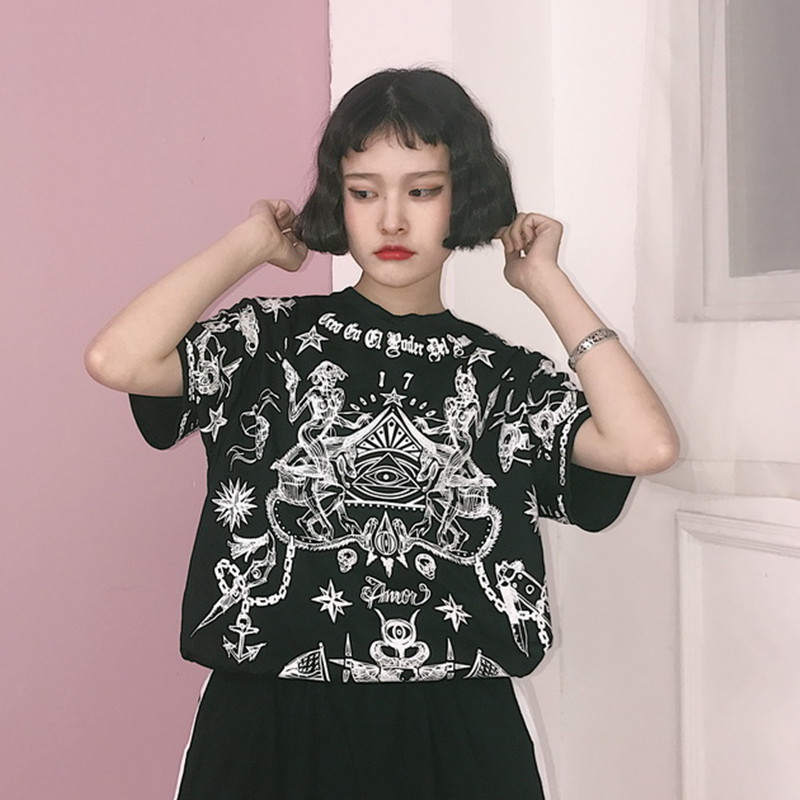 2017 Japanese Harajuku Style Women T-shirt Summer Skeleton Star Graphic Lovers T Shirts Punk Oversize Female Black Tee Tops