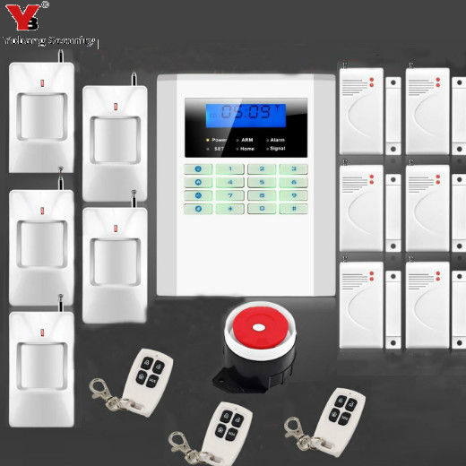 YobangSecurity 99 Wireless 2 Wired Zone Dual Network GSM PSTN Alarm System LCD Keyboard Home Burglar Alarm System yobangsecurity lcd screen keyboard gsm pstn dual network alarm system for home security wired siren pir detector door sensor