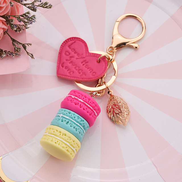 Women Cake Key Chain Fashion Cute French pastries Keychain Bag Charm Car Key Ring Wedding Party gift Jewelry 17278 3