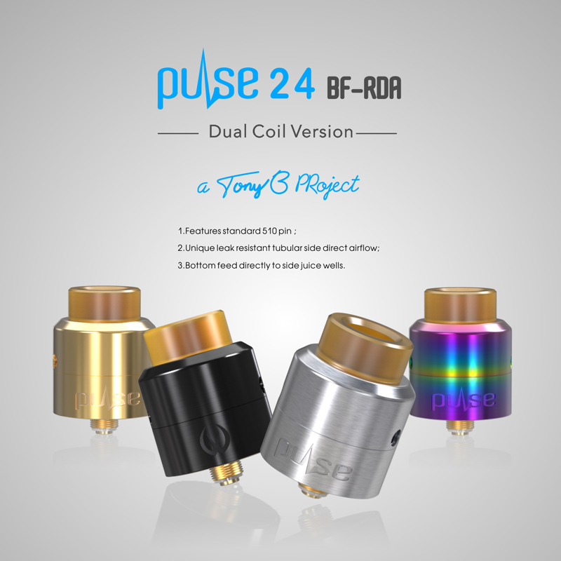 Original Vandy Vape Pulse 24 BF RDA Tank 2.0ML with Squonk Pin Dual Coil Rebuildable Electronic Cigarette Atomizer
