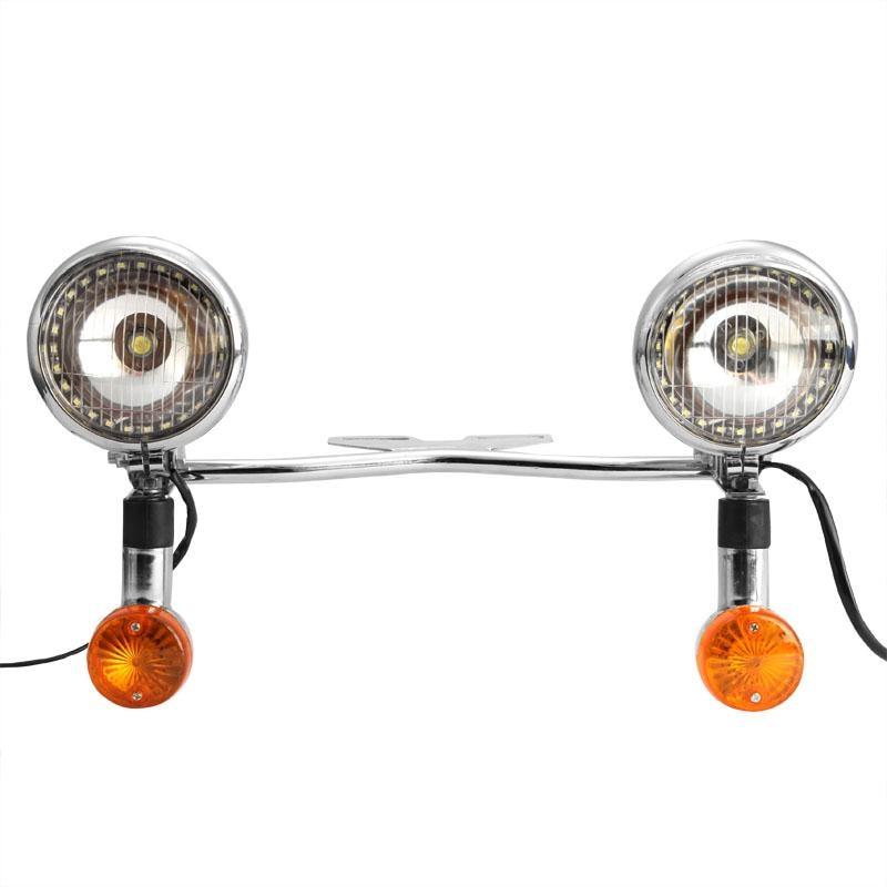 Chrome Motorcycle Headlight Spot Light Led Turn Signals