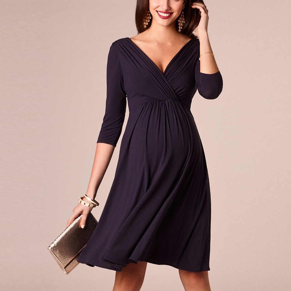 Женское Повседневное платье с v-образным вырезом, рукавом три четверти, длиной до колена, ТРАПЕЦИЕВИДНОЕ Плиссированное свободное женское платье большого размера