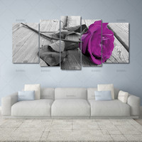 5pcs Print Canvas Wall Art Beautiful Roses Cuadros Decoration Oil Painting Modular Pictures On The Hall