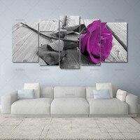5 יחידות אמנות קיר בד ציור הדפסת ורדים יפים ציור שמן קישוט תמונות על קיר אולם מודולרי Cuadros לא מסגרת
