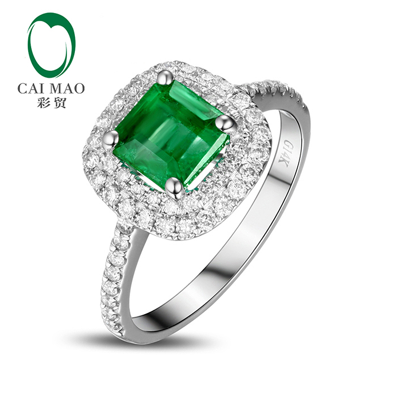 14k Gold 1.03ct Colombian Emerald Diamond Engagement Ring Fine Jewelry