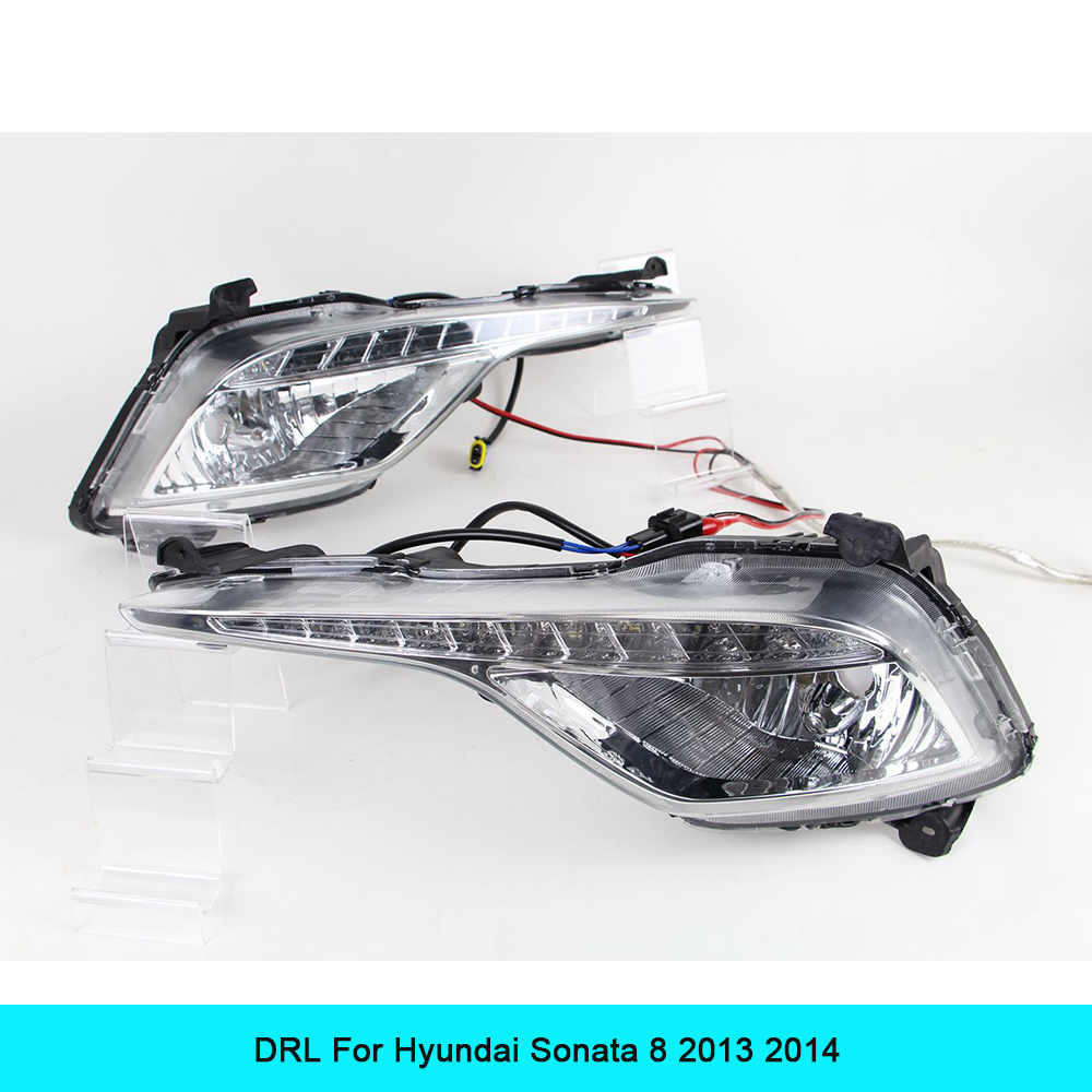 Car DRL kit For Hyundai Sonata 8 2013 2014 LED Daytime Running Light Bar Super bright fog lamp bulb cree car led drl light 12V qvvcev 2pcs new car led fog lamps 60w 9005 hb3 auto foglight drl headlight daytime running light lamp bulb pure white dc12v