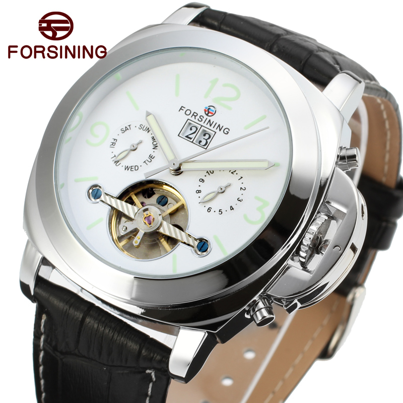 FORSINING Men's Watch Classic Tourbillion Automatic Leather Calendar Analog Dress Wristwatch Color White FSG005M3 стоимость