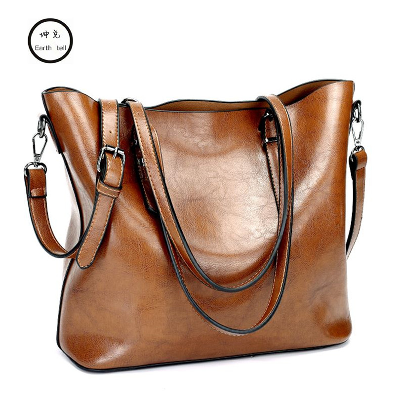 KUNDUI High Quality PU Leather Leisure Large Capacity Ladies Shoulder Messenger Bags Handbags Women With Long Strap Retro Bag fashionable retro pu leather one shoulder messenger bag for women brown 120cm strap