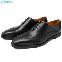 QYFCIOUFU 2019 Newest Men Dress Shoes Designer Business Office Lace-Up Italian Shoes Men's Flat Party Genuine Leather Shoes