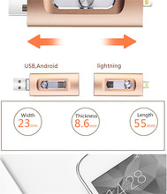 YXL iOS Flash Drive 3 in 1 OTG USB 32G 64G 128G 256G Pendrive Metal Pen 64GB for iPhone X/8/7/6 Plus