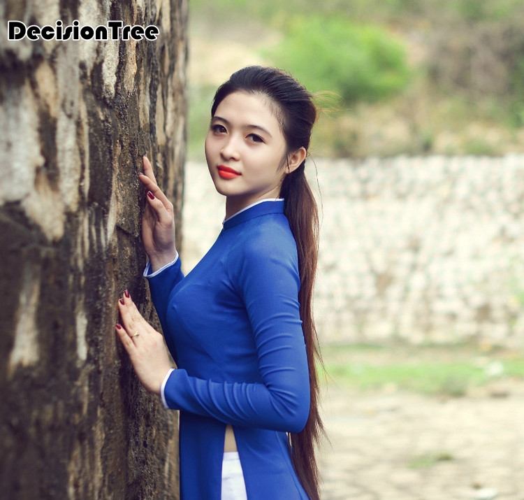 2020 White Woman Aodai Vietnam Traditional Clothing Ao Dai Vietnam Robes And Pants Vietnam Costumes Improved Cheongsam