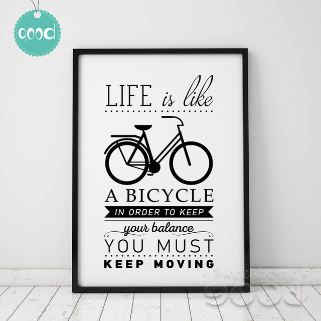 Life Quote Canvas Art Print Painting Poster, Bicycle Wall Pictures For Home  Decoration, Home