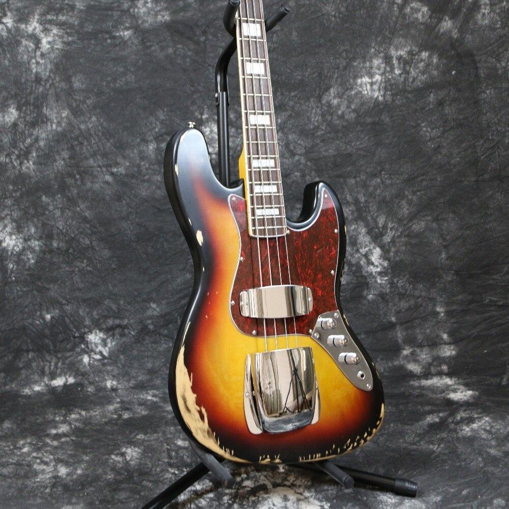 Free shopping Instock Starshine Relic 1961 FD JAZZ 4 strings electric bass guitar handmade