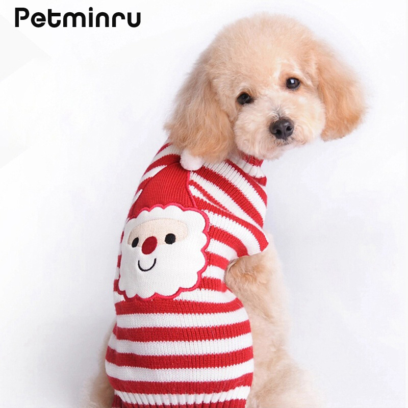petminru santa claus pet sweater dog knit teddy mini medium large dog christmas sweater clothing in dog sweaters from home garden on aliexpresscom - Large Dog Christmas Sweaters