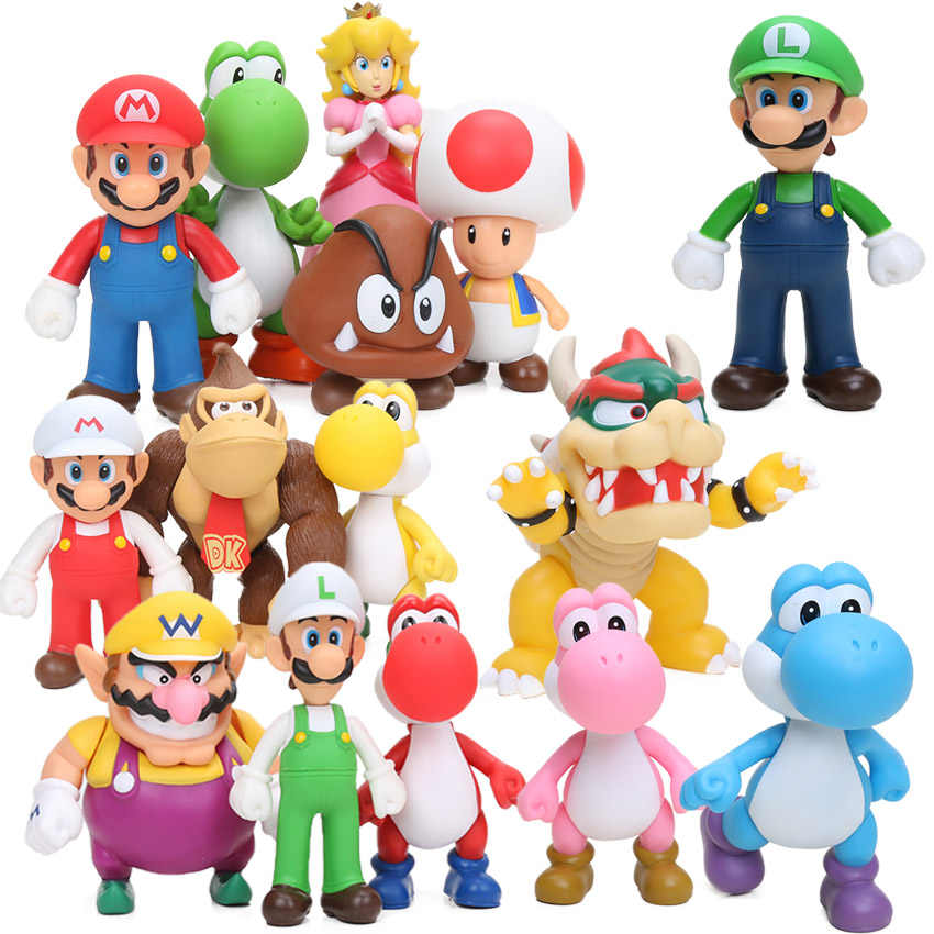 Cute Super Mario Bros Bowser Koopa Yoshi Mari Pvc Action Figures 8