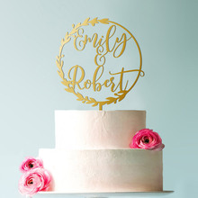 Cake Topper for Wedding with First Names Personalized Rustic Style Custom Mr Mrs  Gold Unique