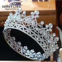 HIMSTORY New European Ryal Crown Silver Color Rhinestone Tiara Heart Shape Queen Crown Wedding Hair Accessories