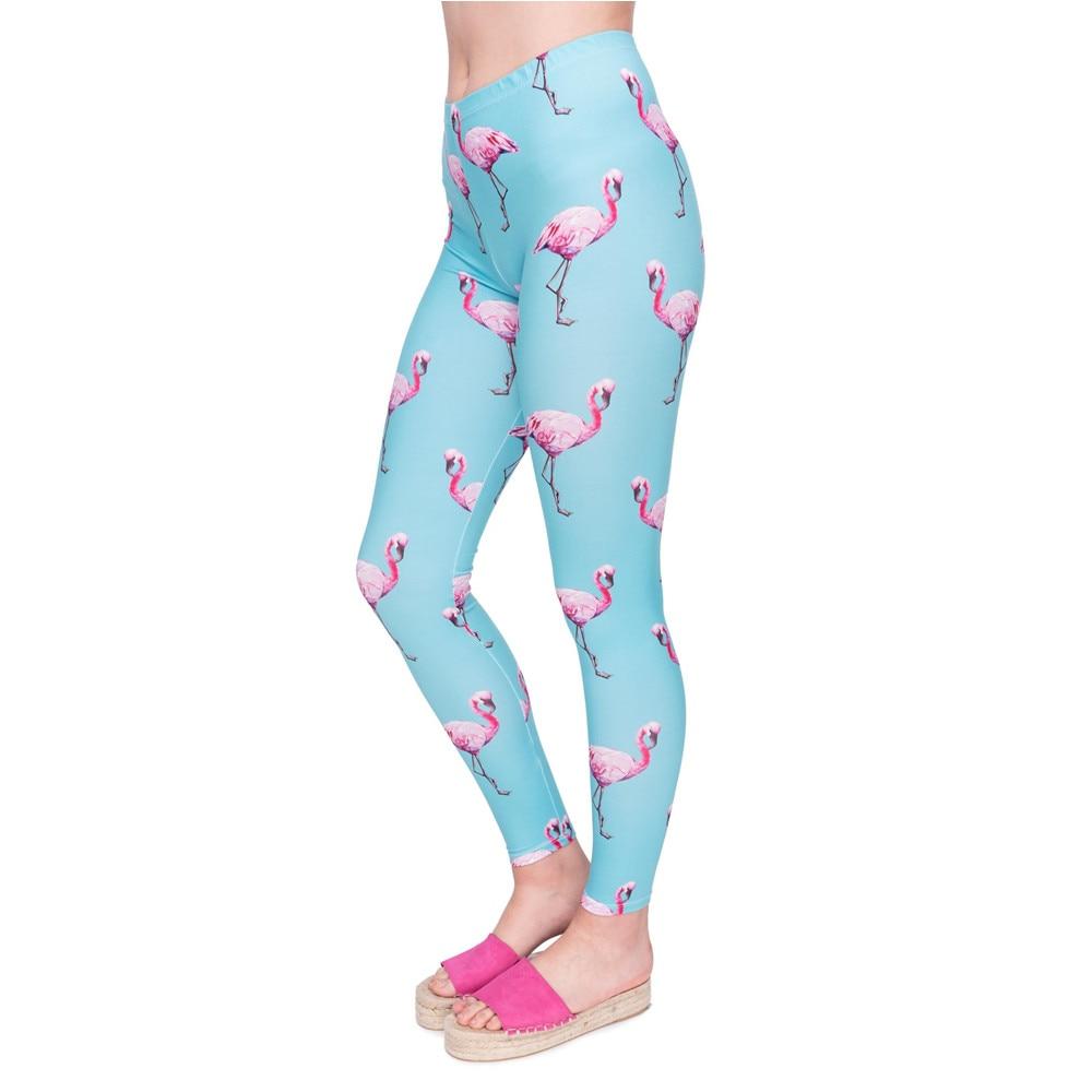 New Fashion Women Legging Cyan Flamingo Printing Leggings High Quality High Waist Woman Pants