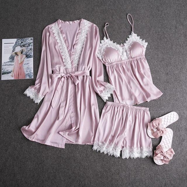Pink Rayon Women's Sexy 3PCS Pyjamas Set Lace Trim Home Wear Loose Kimono Bath Gown V-Neck Cami+Robe+Shorts Sleepwear Suit