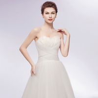Sexy Backless Feather Bust Ball Gown Wedding Dress 2018 Charming Sweetheart Neck Lace up Bridal Dress Robe de Mariee 3