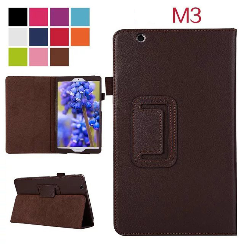 2-Folder Litchi Grain Folio Stand PU Leather Protective Shell Case Sleeve For Huawei Mediapad M3 BTV-W09 BTV-DL09 8.4