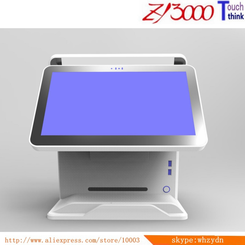 New Stock  I5 4200U 4g Ram 64G SSD Double 15 Inch Capacitance Mulit Touch Screen All In One Pos Terminal With MSR Card Reader