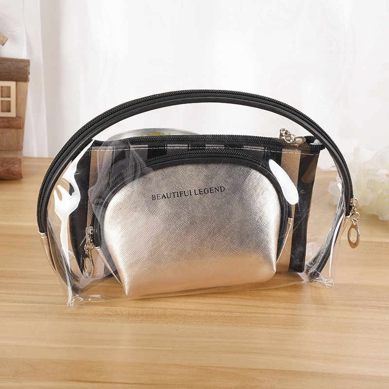 3pcs/set Travel Cosmetic Bag PVC Clear Makeup Bag Women Organizer Case Toiletry Bag Transparent Make up Box Toiletry Small Pouch