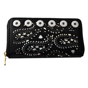 Image 3 - 2018 New Fashion Rivca Women Leather Long Card Holder Wallet New Fashion Design Youself Handbag Fit 18mm Snap Button Wallet
