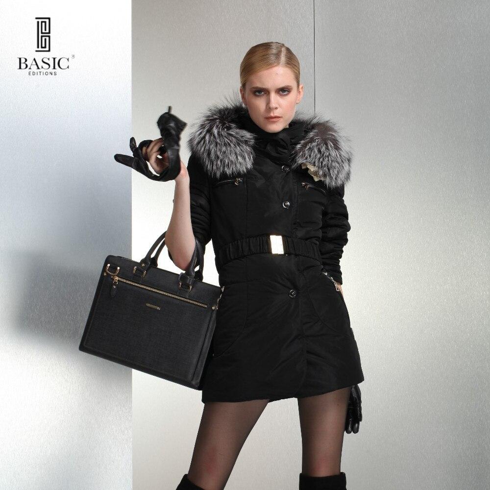 BASIC-EDITIONS Otoño de Las Mujeres de Moda Cinturón De Piel De Zorro Chaqueta D