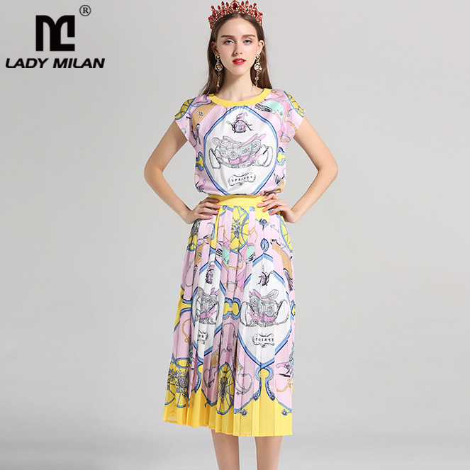 Lady Milan Womens O Neck Short Sleeves Printed T Shirts with Pleated Skirts Fashion Two Piece Dresses Runway Twinsets