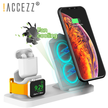 !ACCEZZ Built-in Fans Fast Wireless Charger For Airpods 1 2 Apple Watch 1 2 3 4 For iphone XS MAX Samsung Phone Magnetic Charger 1