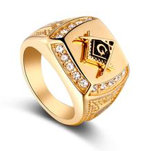 Classic Men's Punk Style Hip Hop Ring Lion Pattern Bling Alloy Rings Gold Color Fashion Jewelry(China)