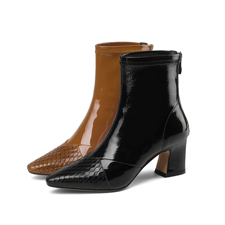 купить Genuine Leather Thick Heel Mid Calf Boots Women Winter High Heel Warm Boots Fashion Pointed Toe Shoes Big Size 41 DR-B0005 недорого